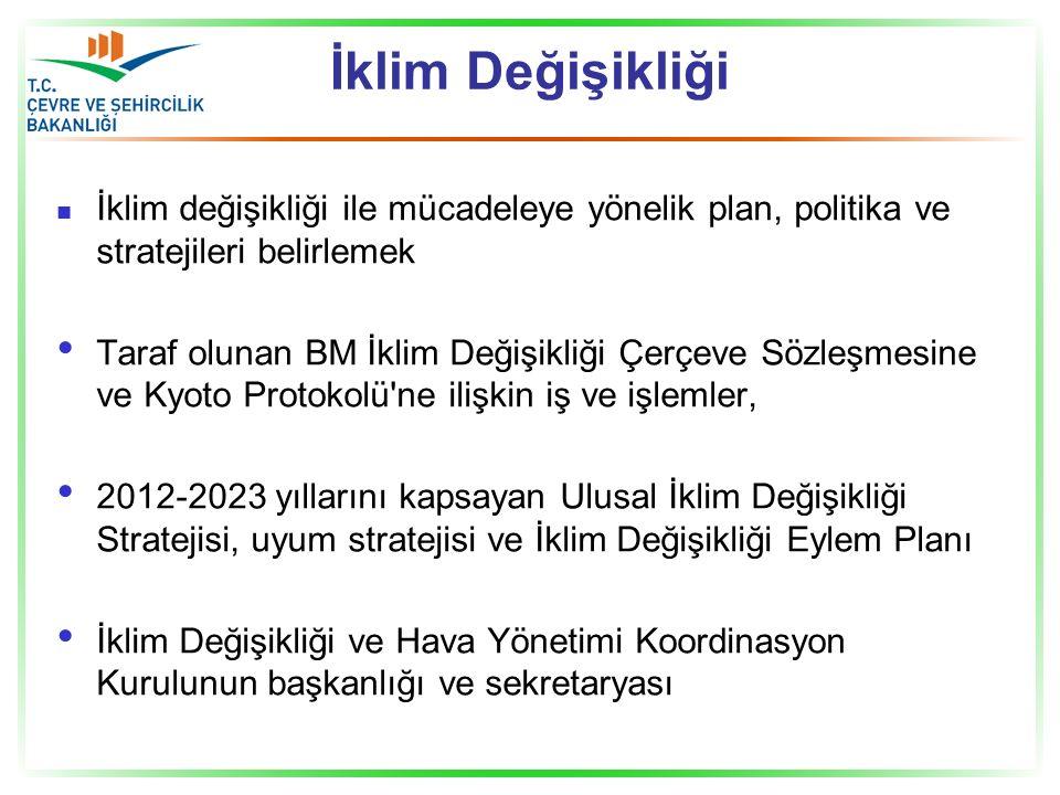 İklim Değişikliği İklim değişikliği ile mücadeleye yönelik plan, politika ve stratejileri belirlemek Taraf olunan BM İklim Değişikliği Çerçeve Sözleşmesine ve Kyoto Protokolü ne ilişkin iş ve işlemler, 2012-2023 yıllarını kapsayan Ulusal İklim Değişikliği Stratejisi, uyum stratejisi ve İklim Değişikliği Eylem Planı İklim Değişikliği ve Hava Yönetimi Koordinasyon Kurulunun başkanlığı ve sekretaryası