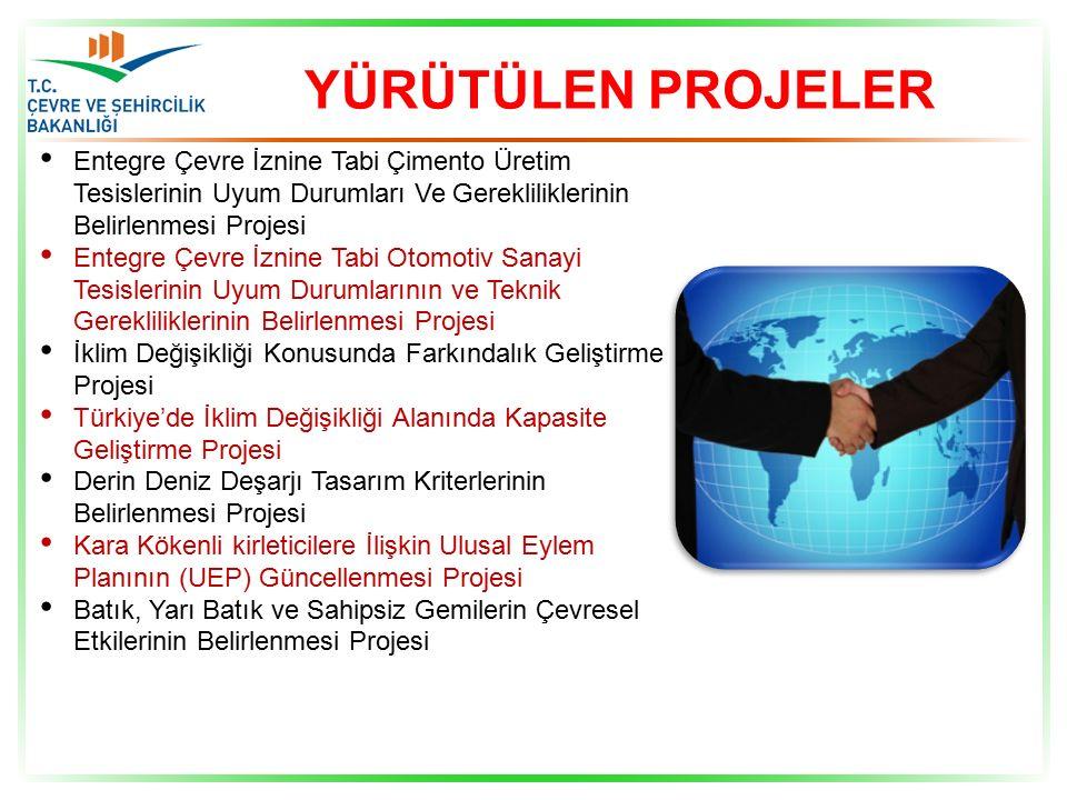 YÜRÜTÜLEN PROJELER Entegre Çevre İznine Tabi Çimento Üretim Tesislerinin Uyum Durumları Ve Gerekliliklerinin Belirlenmesi Projesi Entegre Çevre İznine Tabi Otomotiv Sanayi Tesislerinin Uyum Durumlarının ve Teknik Gerekliliklerinin Belirlenmesi Projesi İklim Değişikliği Konusunda Farkındalık Geliştirme Projesi Türkiye'de İklim Değişikliği Alanında Kapasite Geliştirme Projesi Derin Deniz Deşarjı Tasarım Kriterlerinin Belirlenmesi Projesi Kara Kökenli kirleticilere İlişkin Ulusal Eylem Planının (UEP) Güncellenmesi Projesi Batık, Yarı Batık ve Sahipsiz Gemilerin Çevresel Etkilerinin Belirlenmesi Projesi