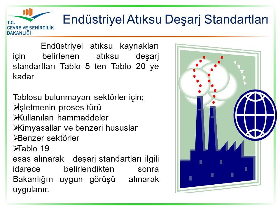 Endüstriyel atıksu kaynakları için belirlenen atıksu deşarj standartları Tablo 5 ten Tablo 20 ye kadar Tablosu bulunmayan sektörler için;  İşletmenin proses türü  Kullanılan hammaddeler  Kimyasallar ve benzeri hususlar  Benzer sektörler  Tablo 19 esas alınarak deşarj standartları ilgili idarece belirlendikten sonra Bakanlığın uygun görüşü alınarak uygulanır.