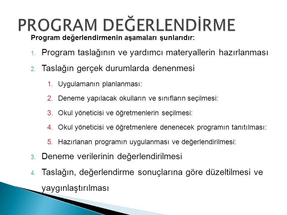 Program değerlendirmenin aşamaları şunlarıdır: 1.