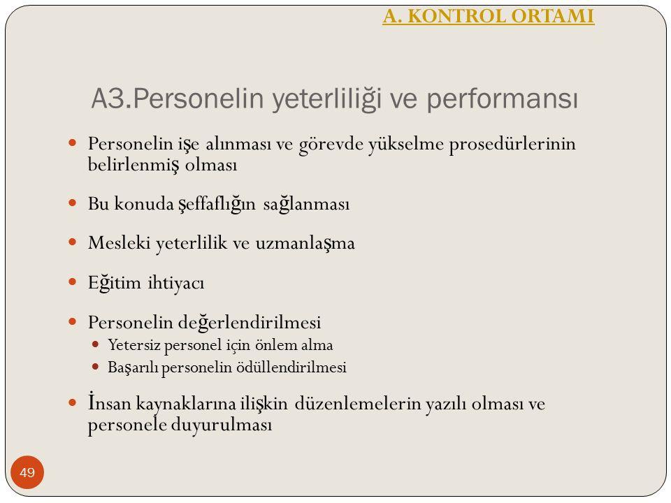 A3.Personelin yeterliliği ve performansı Personelin i ş e alınması ve görevde yükselme prosedürlerinin belirlenmi ş olması Bu konuda ş effaflı ğ ın sa