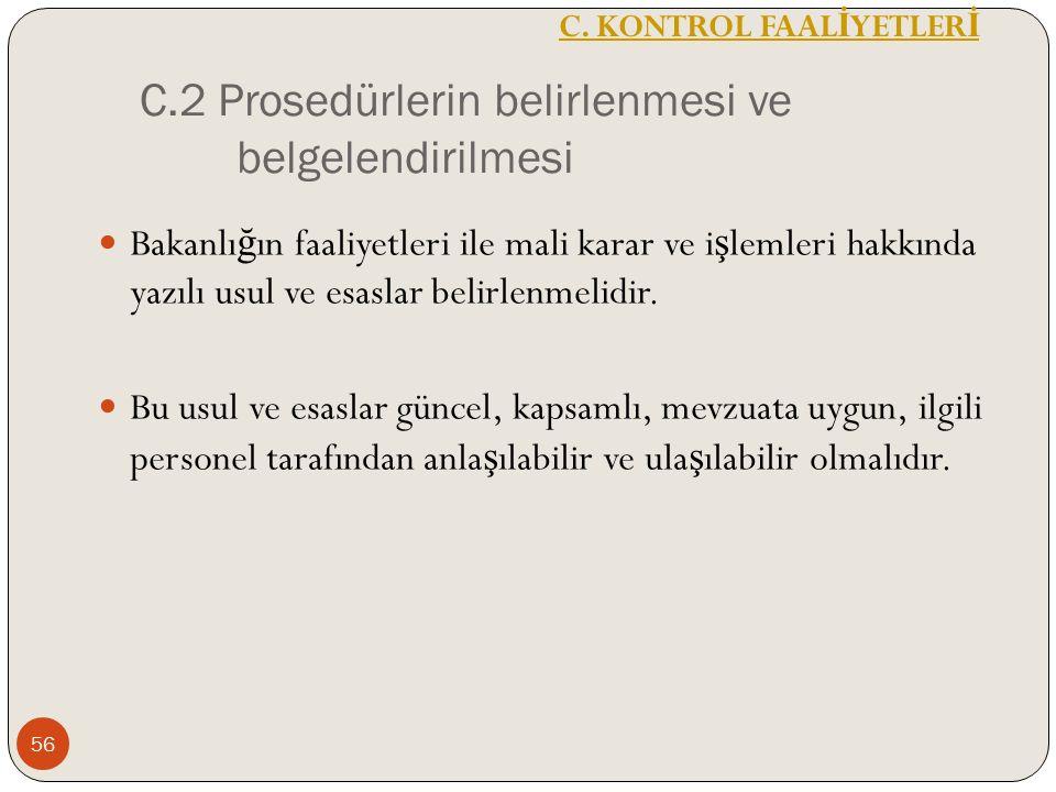 C.2 Prosedürlerin belirlenmesi ve belgelendirilmesi Bakanlı ğ ın faaliyetleri ile mali karar ve i ş lemleri hakkında yazılı usul ve esaslar belirlenmelidir.