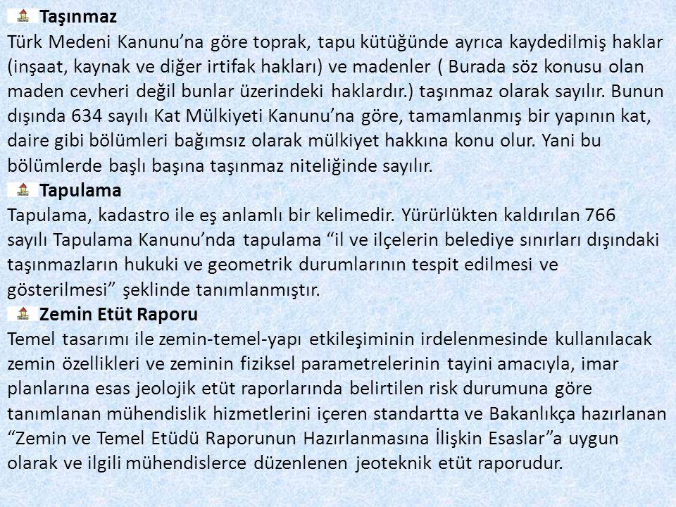 Taşınmaz Türk Medeni Kanunu'na göre toprak, tapu kütüğünde ayrıca kaydedilmiş haklar (inşaat, kaynak ve diğer irtifak hakları) ve madenler ( Burada sö