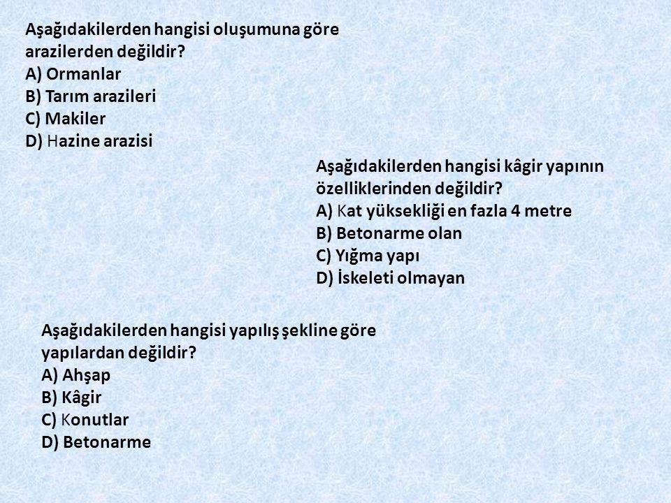 Aşağıdakilerden hangisi oluşumuna göre arazilerden değildir? A) Ormanlar B) Tarım arazileri C) Makiler D) Hazine arazisi Aşağıdakilerden hangisi kâgir