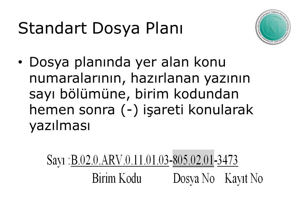 Standart Dosya Planı Dosya planında yer alan konu numaralarının, hazırlanan yazının sayı bölümüne, birim kodundan hemen sonra (-) işareti konularak yazılması