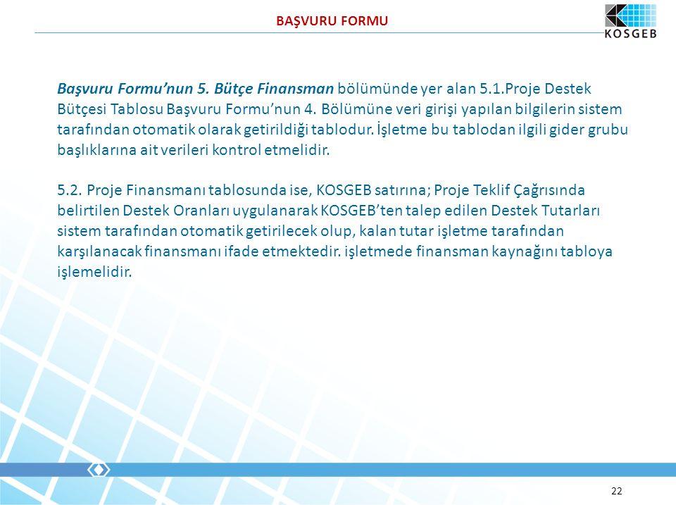 22 Başvuru Formu'nun 5. Bütçe Finansman bölümünde yer alan 5.1.Proje Destek Bütçesi Tablosu Başvuru Formu'nun 4. Bölümüne veri girişi yapılan bilgiler