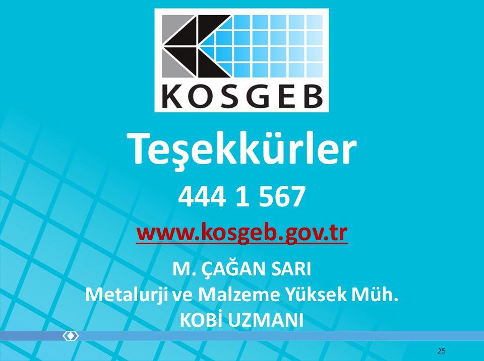 Teşekkürler 444 1 567 www.kosgeb.gov.tr 25 M. ÇAĞAN SARI Metalurji ve Malzeme Yüksek Müh. KOBİ UZMANI