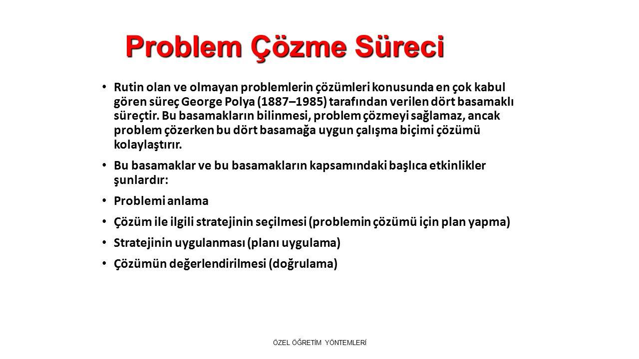 Problem Çözme Süreci Rutin olan ve olmayan problemlerin çözümleri konusunda en çok kabul gören süreç George Polya (1887–1985) tarafından verilen dört basamaklı süreçtir.