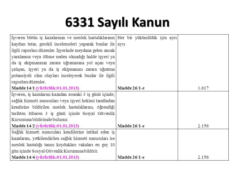6331 Sayılı Kanun İşveren bütün iş kazalarının ve meslek hastalıklarının kaydını tutar, gerekli incelemeleri yaparak bunlar ile ilgili raporları düzenler.