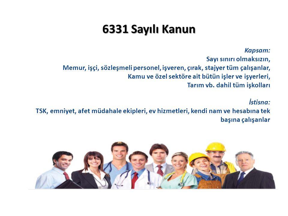 6331 Sayılı Kanun Kapsam: Sayı sınırı olmaksızın, Memur, işçi, sözleşmeli personel, işveren, çırak, stajyer tüm çalışanlar, Kamu ve özel sektöre ait bütün işler ve işyerleri, Tarım vb.