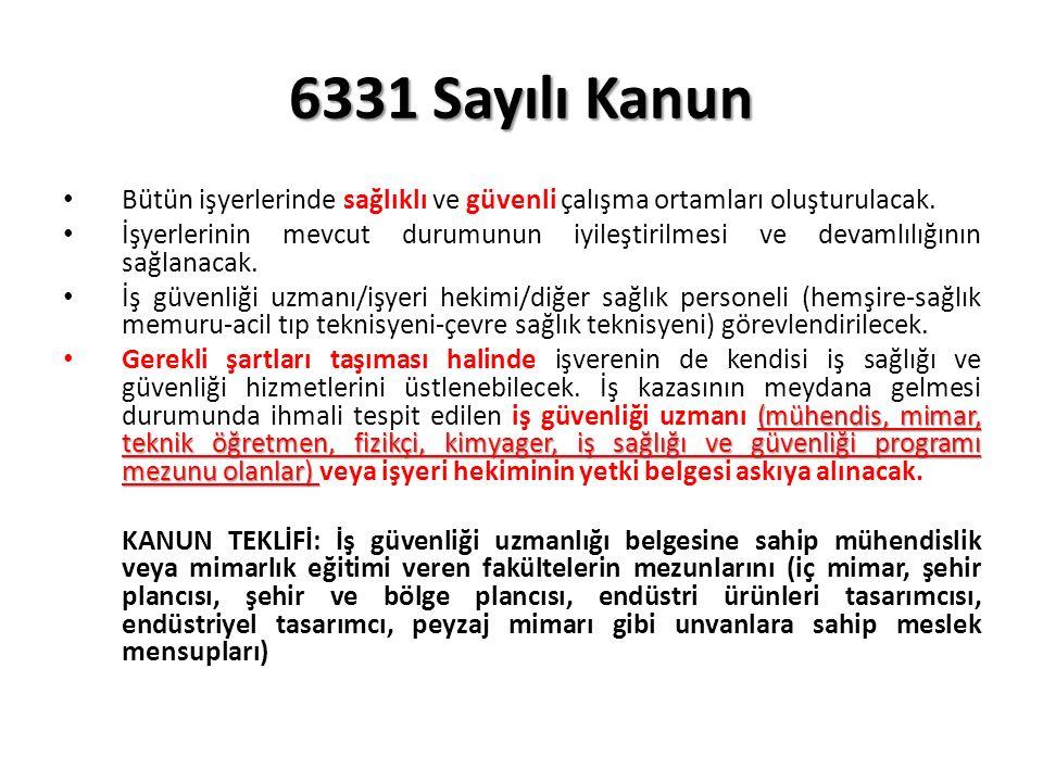 6331 Sayılı Kanun Bütün işyerlerinde sağlıklı ve güvenli çalışma ortamları oluşturulacak.