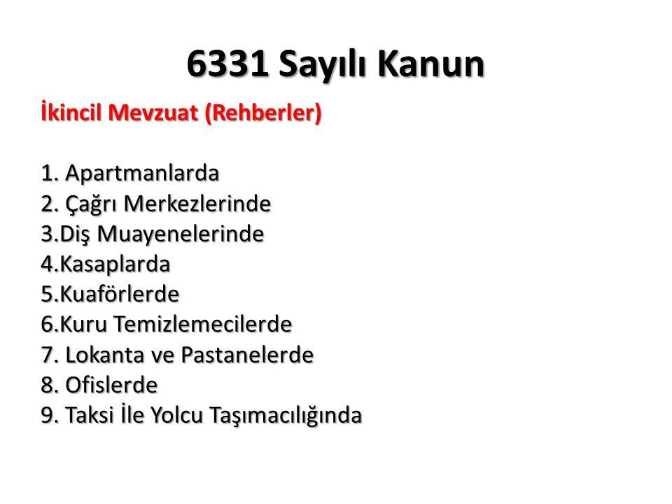 6331 Sayılı Kanun İş güvenliği uzmanı veya işyeri hekimi görevlendirilmesi Madde 6/1 (yürürlük:30.06.2014) Her bir kişi/ay için Madde 26/1-b5.390 Diğer sağlık personeli görevlendirilmesi Madde 6/1 (yürürlük:30.06.2014) Her bir kişi/ay için Madde 26/1-b2.695 Görevlendirdikleri kişi veya hizmet aldığı kurum ve kuruluşların görevlerini yerine getirmeleri amacıyla araç, gereç, mekân ve zaman gibi gerekli bütün ihtiyaçlarının karşılanması, işyerinde sağlık ve güvenlik hizmetlerini yürütenler arasında iş birliği ve koordinasyonun sağlanması, çalışanların sağlık ve güvenliğini etkilediği bilinen veya etkilemesi muhtemel konular hakkında; görevlendirdikleri kişi veya hizmet aldığı kurum ve kuruluşları, başka işyerlerinden çalışmak üzere kendi işyerine gelen çalışanları ve bunların işverenlerini bilgilendirmesi Madde 6/1 (b-c-d) (yürürlük:30.06.2014) Her bir ihlal için ayrı ayrı Madde 26/1-b1.617