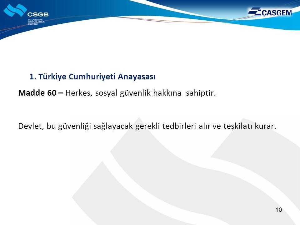 1. Türkiye Cumhuriyeti Anayasası Madde 60 – Herkes, sosyal güvenlik hakkına sahiptir. Devlet, bu güvenliği sağlayacak gerekli tedbirleri alır ve teşki