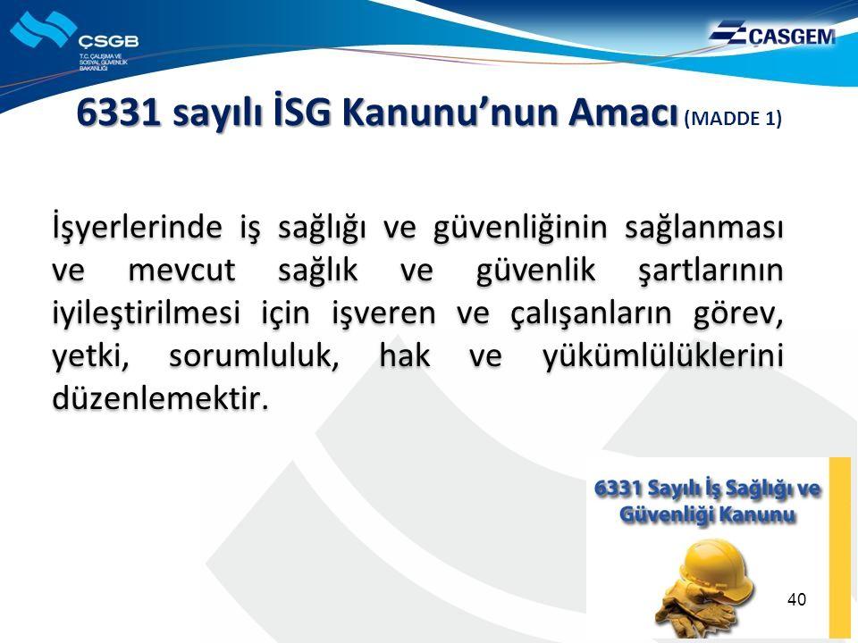 6331 sayılı İSG Kanunu'nun Amacı 6331 sayılı İSG Kanunu'nun Amacı (MADDE 1) İşyerlerinde iş sağlığı ve güvenliğinin sağlanması ve mevcut sağlık ve güv