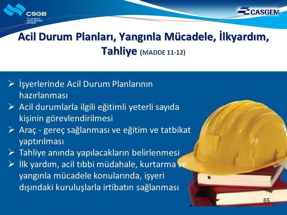 Acil Durum Planları, Yangınla Mücadele, İlkyardım, Tahliye Acil Durum Planları, Yangınla Mücadele, İlkyardım, Tahliye (MADDE 11-12)  İşyerlerinde Aci