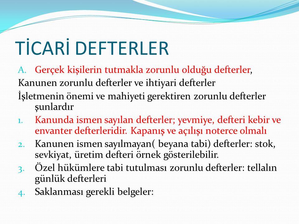 TİCARİ DEFTERLER A.