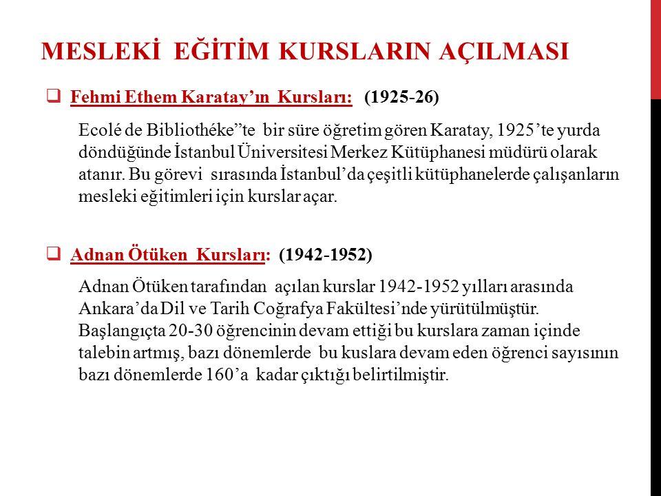MESLEKİ EĞİTİM KURSLARIN AÇILMASI  Fehmi Ethem Karatay'ın Kursları: (1925-26) Ecolé de Bibliothéke te bir süre öğretim gören Karatay, 1925'te yurda döndüğünde İstanbul Üniversitesi Merkez Kütüphanesi müdürü olarak atanır.