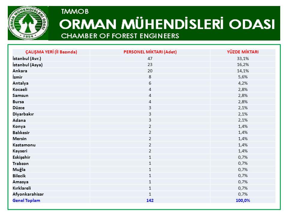 ÇALIŞMA YERİ (İl Bazında)PERSONEL MİKTARI (Adet)YÜZDE MİKTARI İstanbul (Avr.)4733,1% İstanbul (Asya) 2316,2% Ankara 2014,1% İzmir 85,6% Antalya 64,2%
