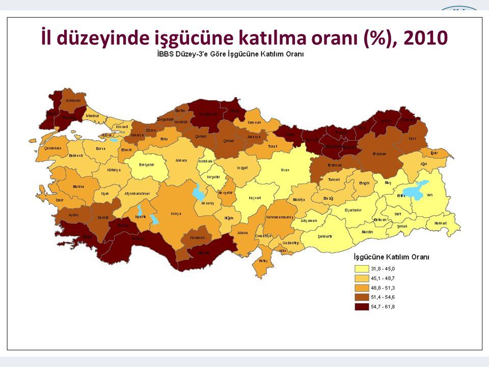 TÜRKİYE İSTATİSTİK KURUMU 24 İl düzeyinde işgücüne katılma oranı (%), 2010