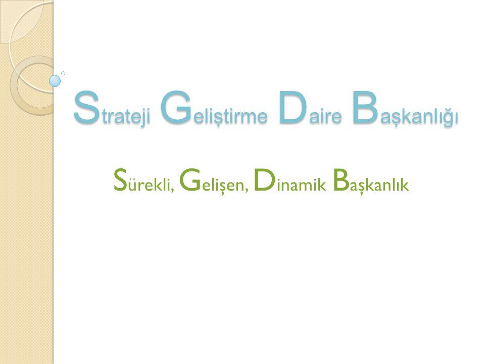 S trateji G eliştirme D aire B aşkanlığı S ürekli, G elişen, D inamik B aşkanlık
