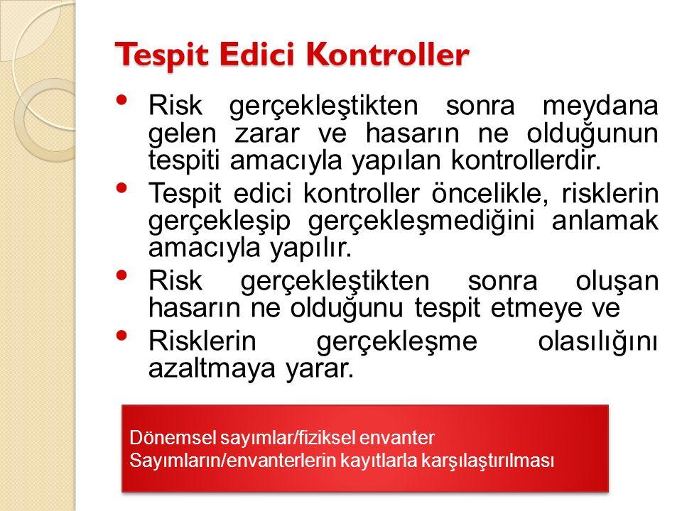 Tespit Edici Kontroller Risk gerçekleştikten sonra meydana gelen zarar ve hasarın ne olduğunun tespiti amacıyla yapılan kontrollerdir. Tespit edici ko