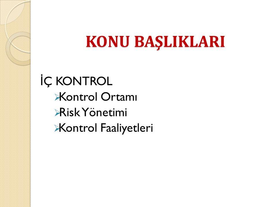 İ Ç KONTROL  Kontrol Ortamı  Risk Yönetimi  Kontrol Faaliyetleri KONU BAŞLIKLARI