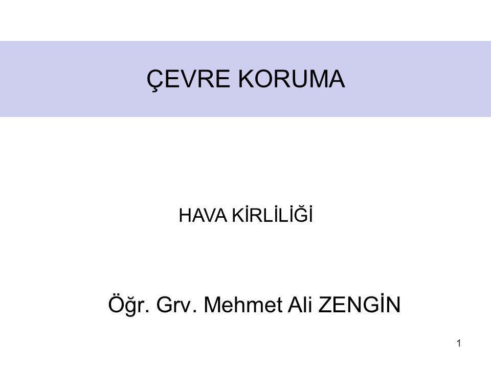 1 ÇEVRE KORUMA Öğr. Grv. Mehmet Ali ZENGİN HAVA KİRLİLİĞİ