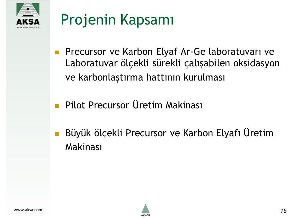 Projenin Kapsamı Precursor ve Karbon Elyaf Ar-Ge laboratuvarı ve Laboratuvar ölçekli sürekli çalışabilen oksidasyon ve karbonlaştırma hattının kurulması Pilot Precursor Üretim Makinası Büyük ölçekli Precursor ve Karbon Elyafı Üretim Makinası 15