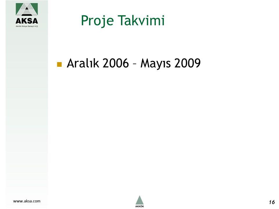 Aralık 2006 – Mayıs 2009 Proje Takvimi 16