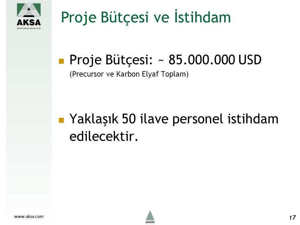Proje Bütçesi: ~ 85.000.000 USD (Precursor ve Karbon Elyaf Toplam) Yaklaşık 50 ilave personel istihdam edilecektir.