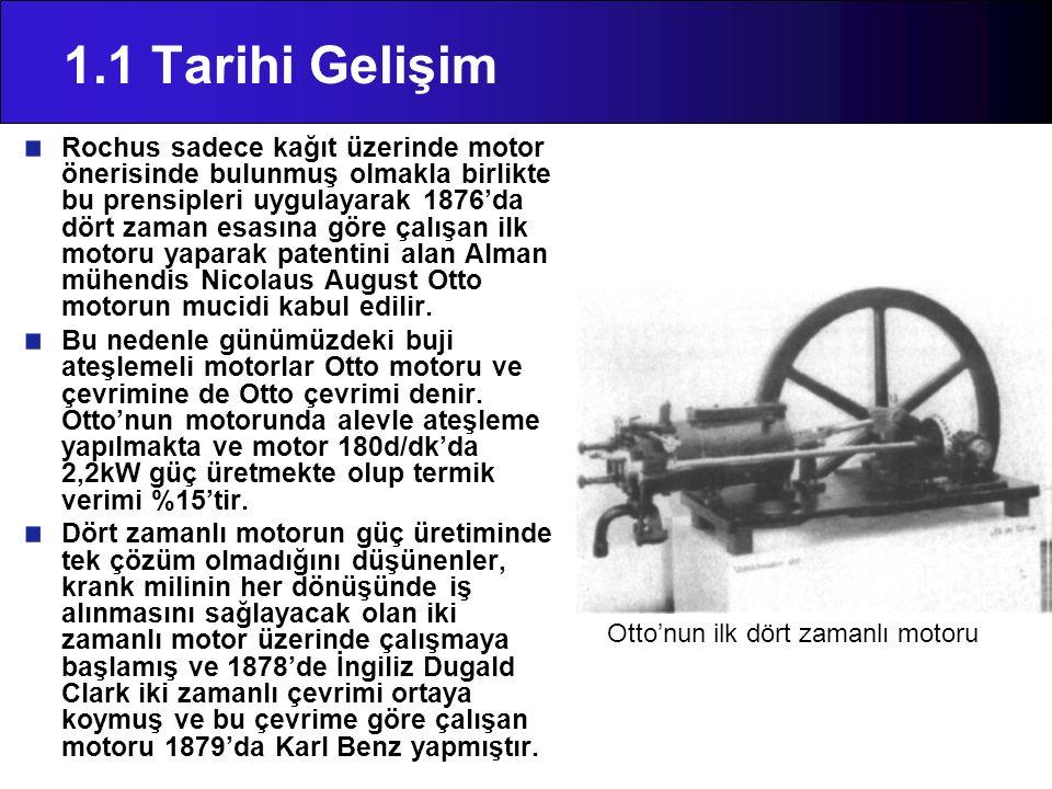 1.1 Tarihi Gelişim Rochus sadece kağıt üzerinde motor önerisinde bulunmuş olmakla birlikte bu prensipleri uygulayarak 1876'da dört zaman esasına göre
