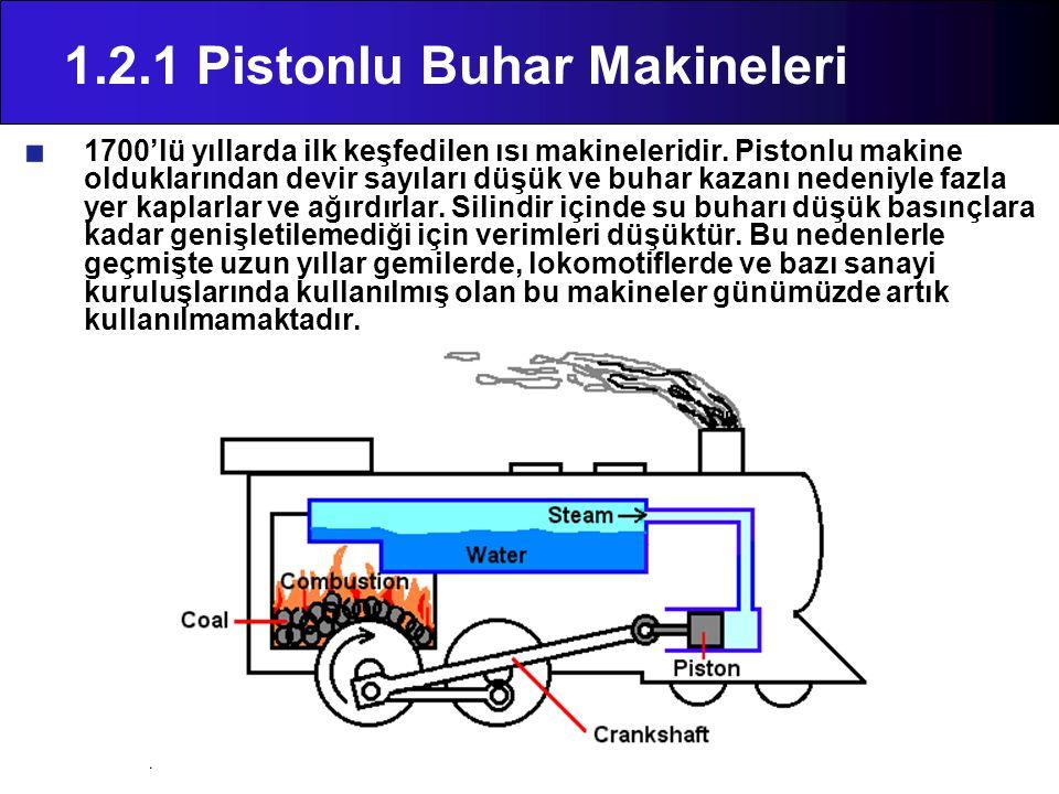 1.2.1 Pistonlu Buhar Makineleri 1700'lü yıllarda ilk keşfedilen ısı makineleridir. Pistonlu makine olduklarından devir sayıları düşük ve buhar kazanı