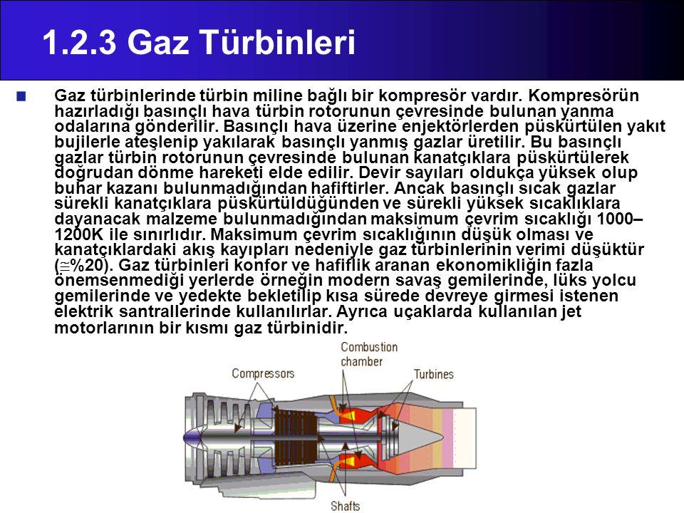 1.2.3 Gaz Türbinleri Gaz türbinlerinde türbin miline bağlı bir kompresör vardır. Kompresörün hazırladığı basınçlı hava türbin rotorunun çevresinde bul