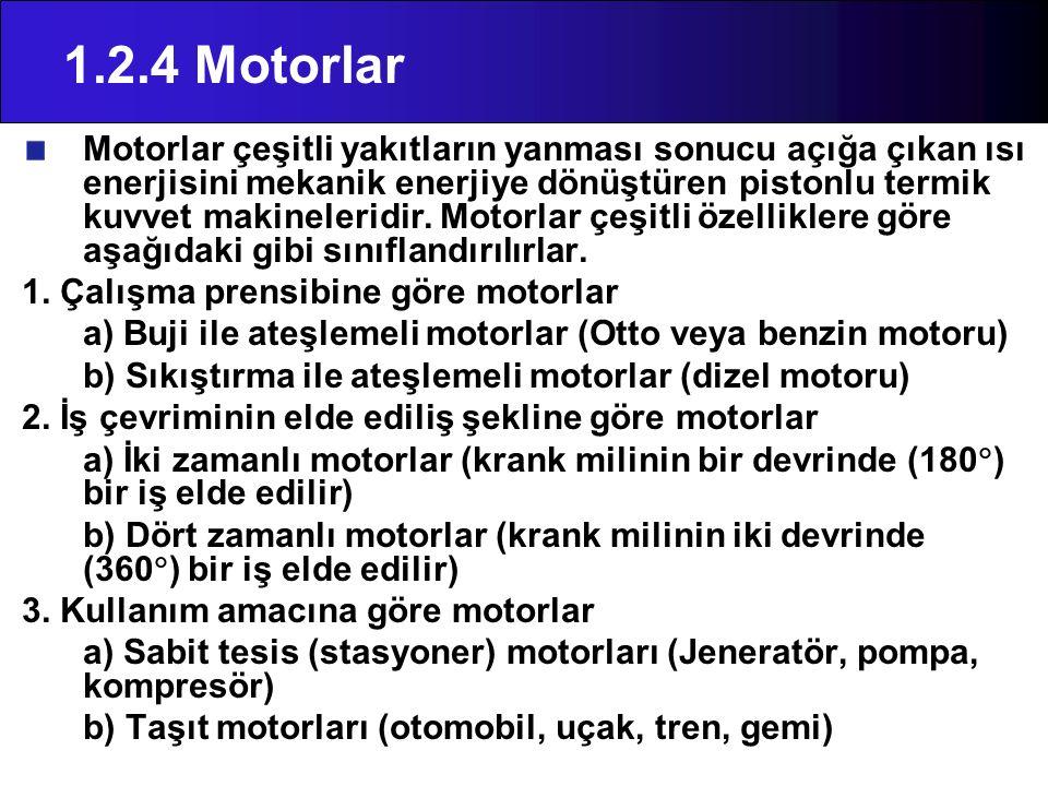 1.2.4 Motorlar Motorlar çeşitli yakıtların yanması sonucu açığa çıkan ısı enerjisini mekanik enerjiye dönüştüren pistonlu termik kuvvet makineleridir.