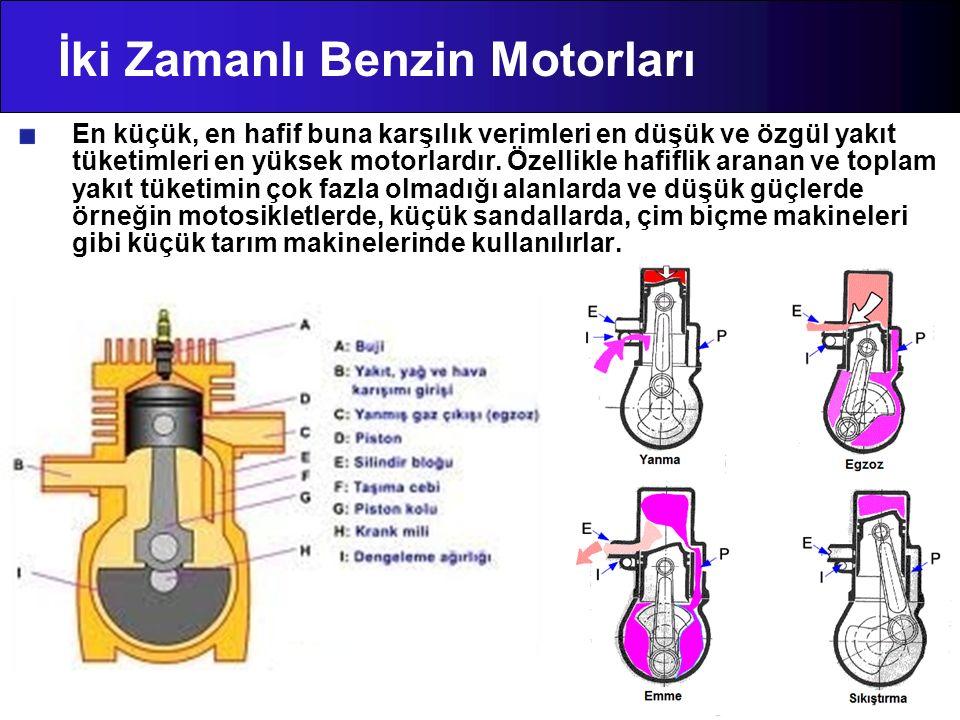 İki Zamanlı Benzin Motorları En küçük, en hafif buna karşılık verimleri en düşük ve özgül yakıt tüketimleri en yüksek motorlardır. Özellikle hafiflik