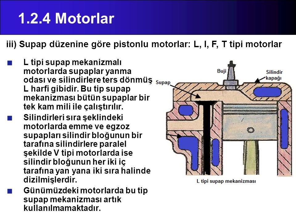 1.2.4 Motorlar L tipi supap mekanizmalı motorlarda supaplar yanma odası ve silindirlere ters dönmüş L harfi gibidir. Bu tip supap mekanizması bütün su