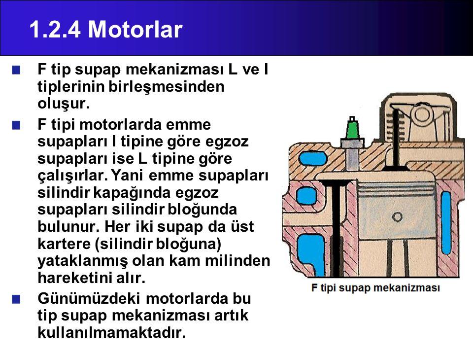 1.2.4 Motorlar F tip supap mekanizması L ve I tiplerinin birleşmesinden oluşur. F tipi motorlarda emme supapları I tipine göre egzoz supapları ise L t