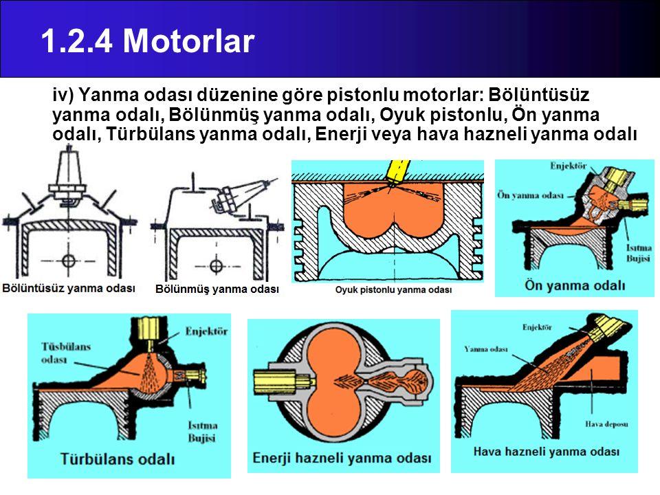 1.2.4 Motorlar iv) Yanma odası düzenine göre pistonlu motorlar: Bölüntüsüz yanma odalı, Bölünmüş yanma odalı, Oyuk pistonlu, Ön yanma odalı, Türbülans