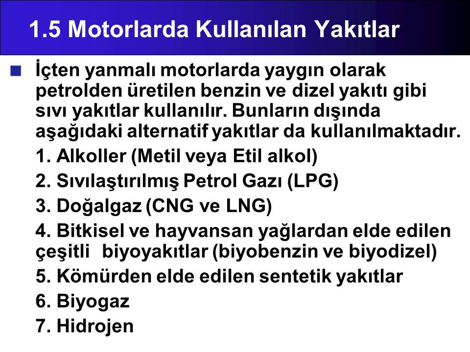 1.5 Motorlarda Kullanılan Yakıtlar İçten yanmalı motorlarda yaygın olarak petrolden üretilen benzin ve dizel yakıtı gibi sıvı yakıtlar kullanılır. Bun