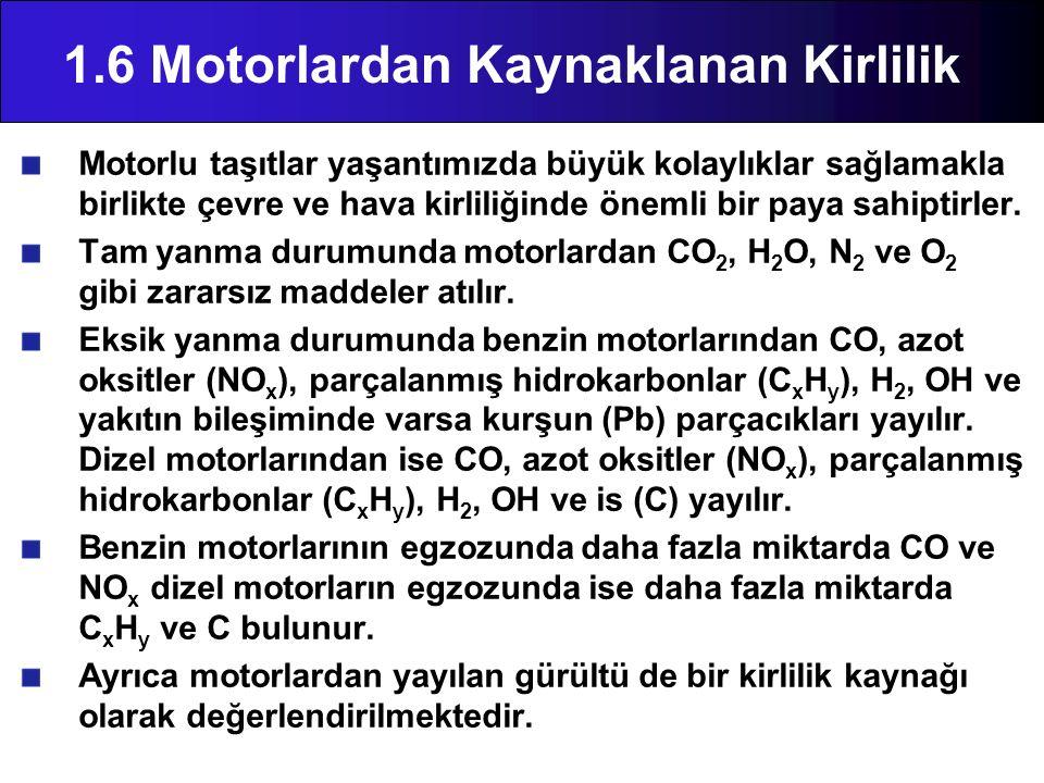1.6 Motorlardan Kaynaklanan Kirlilik Motorlu taşıtlar yaşantımızda büyük kolaylıklar sağlamakla birlikte çevre ve hava kirliliğinde önemli bir paya sa