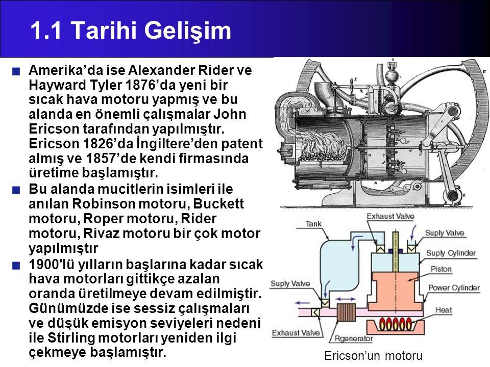 1.1 Tarihi Gelişim Amerika'da ise Alexander Rider ve Hayward Tyler 1876'da yeni bir sıcak hava motoru yapmış ve bu alanda en önemli çalışmalar John Er