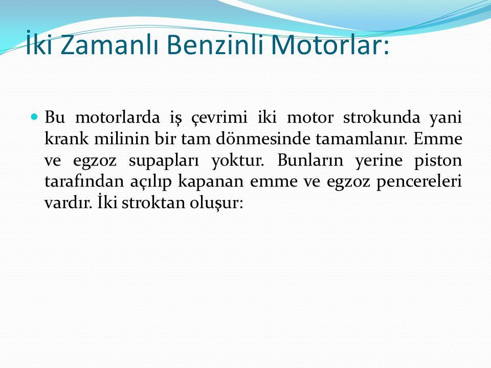 İki Zamanlı Benzinli Motorlar: Bu motorlarda iş çevrimi iki motor strokunda yani krank milinin bir tam dönmesinde tamamlanır.