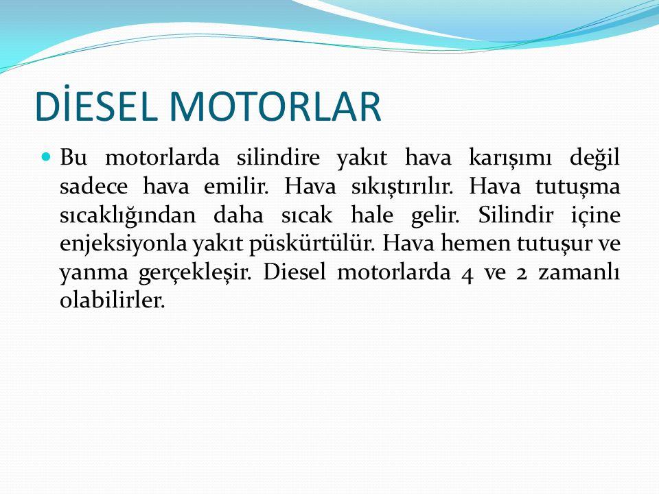 DİESEL MOTORLAR Bu motorlarda silindire yakıt hava karışımı değil sadece hava emilir.