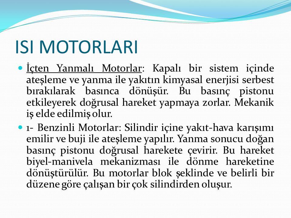 ISI MOTORLARI İçten Yanmalı Motorlar: Kapalı bir sistem içinde ateşleme ve yanma ile yakıtın kimyasal enerjisi serbest bırakılarak basınca dönüşür.