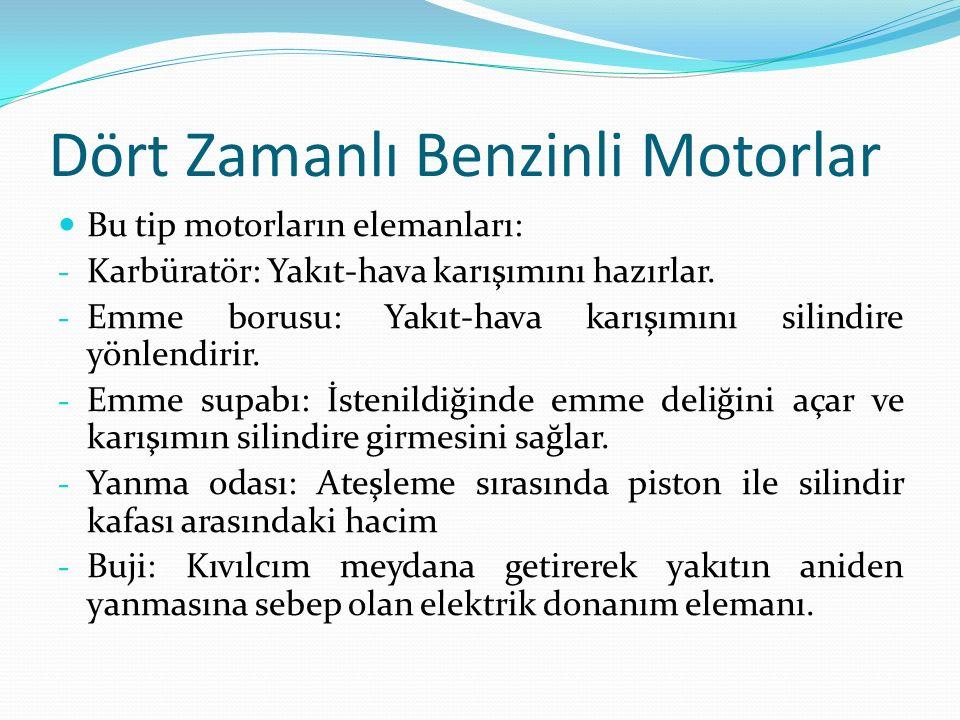 Dört Zamanlı Benzinli Motorlar Bu tip motorların elemanları: - Karbüratör: Yakıt-hava karışımını hazırlar.
