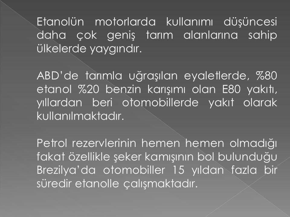 Etanolün motorlarda kullanımı düşüncesi daha çok geniş tarım alanlarına sahip ülkelerde yaygındır.