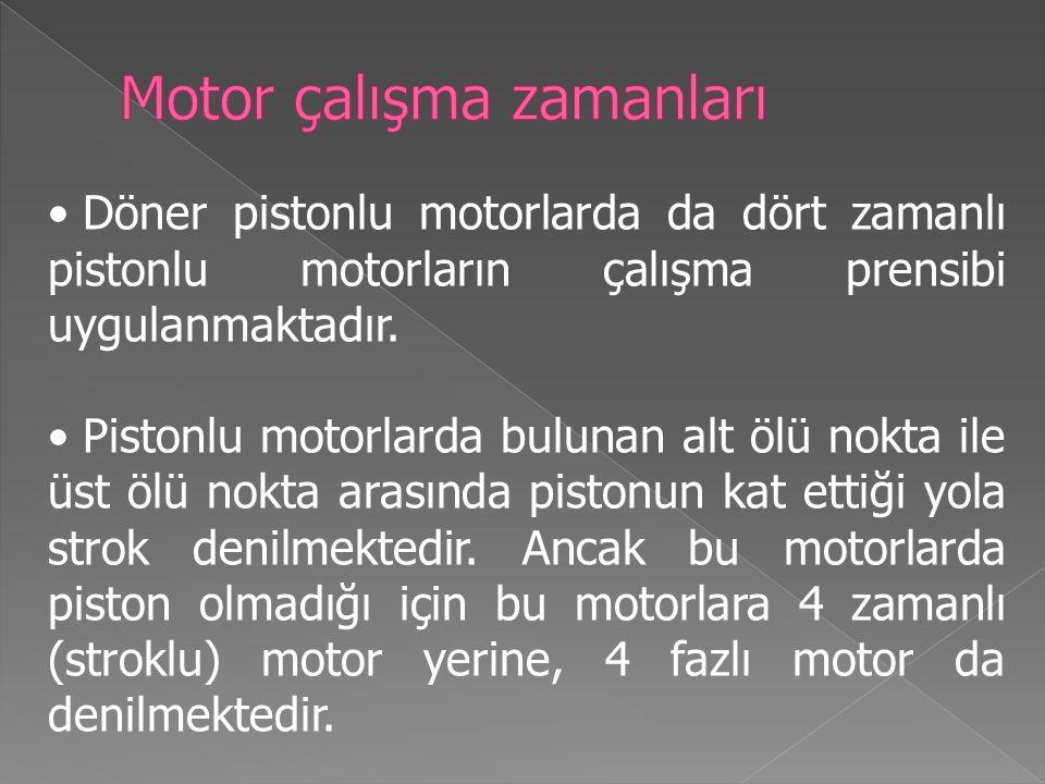 Döner pistonlu motorlarda da dört zamanlı pistonlu motorların çalışma prensibi uygulanmaktadır.