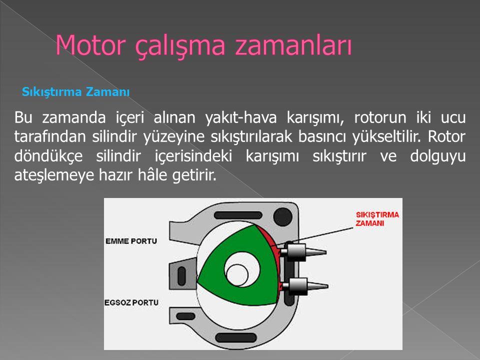 Sıkıştırma Zamanı Bu zamanda içeri alınan yakıt-hava karışımı, rotorun iki ucu tarafından silindir yüzeyine sıkıştırılarak basıncı yükseltilir.