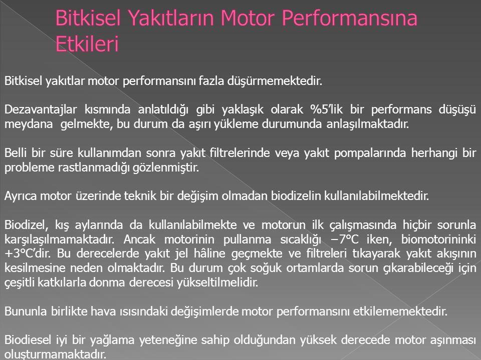 Bitkisel yakıtlar motor performansını fazla düşürmemektedir.