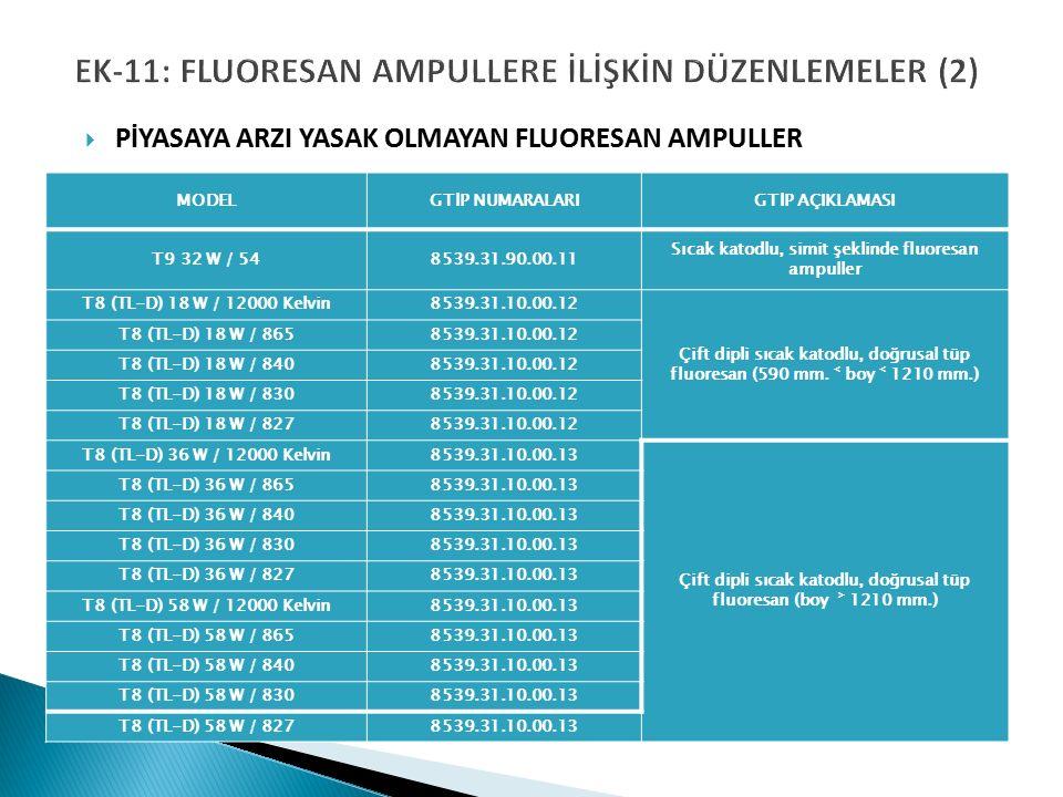 EK-11: FLUORESAN AMPULLERE İLİŞKİN DÜZENLEMELER (2)  PİYASAYA ARZI YASAK OLMAYAN FLUORESAN AMPULLER MODELGTİP NUMARALARIGTİP AÇIKLAMASI T9 32 W / 548539.31.90.00.11 Sıcak katodlu, simit şeklinde fluoresan ampuller T8 (TL-D) 18 W / 12000 Kelvin8539.31.10.00.12 Çift dipli sıcak katodlu, doğrusal tüp fluoresan (590 mm.